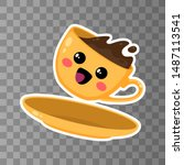 yellow cup of kawaii coffee on... | Shutterstock .eps vector #1487113541