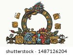kukulkan. feathered serpent and ... | Shutterstock .eps vector #1487126204