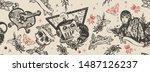 sci fi seamless pattern. space... | Shutterstock .eps vector #1487126237