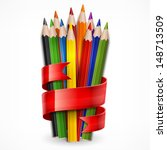 colored wooden pencils tied... | Shutterstock .eps vector #148713509