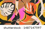 modern exotic jungle plants... | Shutterstock .eps vector #1487147597