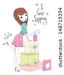 shopping girl | Shutterstock .eps vector #148715354