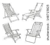 set of hand drawn beach chairs | Shutterstock .eps vector #148715825