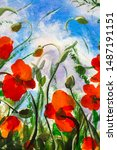 Red Poppies Art. Field Of Red...