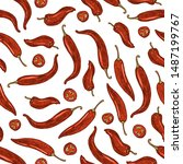 chili pepper seamless pattern.... | Shutterstock .eps vector #1487199767