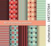 set of trendy seamless floral... | Shutterstock .eps vector #1487257064