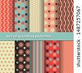 set of trendy seamless floral... | Shutterstock .eps vector #1487257067