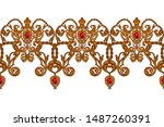 seamless border in rococo style ... | Shutterstock .eps vector #1487260391