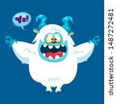 Stock vector cute cartoon furry white monster vector bigfoot character 1487272481