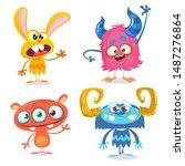 Stock vector cute cartoon monsters set of cartoon monsters bigfoot yeti troll monster and alien halloween 1487276864