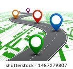 road with gps navigation on... | Shutterstock .eps vector #1487279807