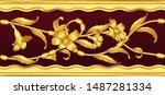 seamless pattern golden... | Shutterstock .eps vector #1487281334