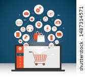online shopping and online... | Shutterstock .eps vector #1487314571