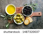 A Set Of Green And Black Olives ...