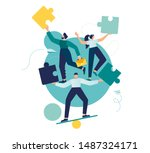 business concept. team metaphor.... | Shutterstock .eps vector #1487324171