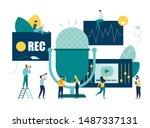 vector illustration  news ... | Shutterstock .eps vector #1487337131