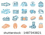 the industry produces salmon... | Shutterstock .eps vector #1487343821