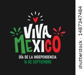 viva mexico. traditional... | Shutterstock .eps vector #1487347484