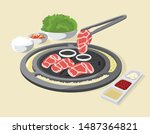 korean traditional barbecue.... | Shutterstock .eps vector #1487364821
