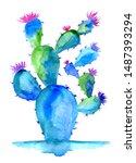 Watercolor Green Blue Cactus...