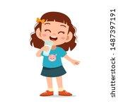 happy kid drink milk vector...   Shutterstock .eps vector #1487397191
