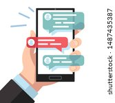 mobile sms notifications. hand... | Shutterstock .eps vector #1487435387