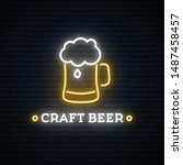neon craft beer signboard.... | Shutterstock .eps vector #1487458457
