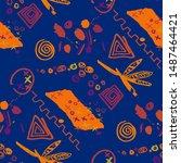 abstract pattern in line art... | Shutterstock .eps vector #1487464421