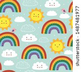blue seamless pattern with cute ...   Shutterstock .eps vector #1487481977
