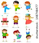 collection of happy children in ... | Shutterstock . vector #148748477