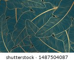 a green background with golden... | Shutterstock .eps vector #1487504087