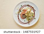 Seafood Octopus On White Plate...