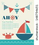 ahoy card design. vector... | Shutterstock .eps vector #148754651