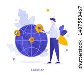 man standing beside globe with... | Shutterstock .eps vector #1487553467