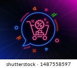 shopping cart line icon. neon... | Shutterstock .eps vector #1487558597