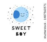 poster with doodle happy moon... | Shutterstock .eps vector #1487563571