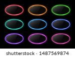 colorful neon oval frame set.... | Shutterstock . vector #1487569874