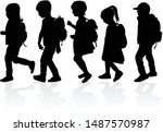 silhouette of a child with a... | Shutterstock .eps vector #1487570987