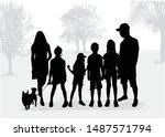 vector silhouette of family.... | Shutterstock .eps vector #1487571794