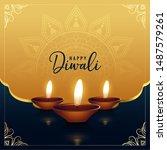beautiful golden happy diwali... | Shutterstock .eps vector #1487579261