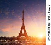Paris Cityscape At Sunset  ...