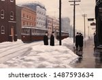 A group of men gathers at a street corner on a winter morning in the 1890s.