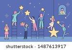 romantic boys and girls picking ...   Shutterstock .eps vector #1487613917
