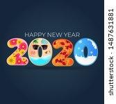 2020 happy new year. 4 season...