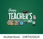 happy teachers day vector... | Shutterstock .eps vector #1487633624