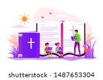 children studying christianity. ...   Shutterstock .eps vector #1487653304