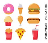 fast food icons set cartoon... | Shutterstock .eps vector #1487656481