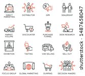 vector set of linear icons... | Shutterstock .eps vector #1487658047