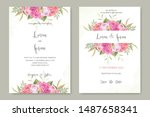 beautiful wedding card with...   Shutterstock .eps vector #1487658341