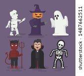 Stock vector people in halloween monster costume halloween spooky monsters flat design vector illustration 1487662511